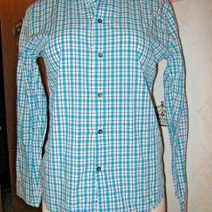 Bright Blue White Plaid Fitted Button Down Shirt M